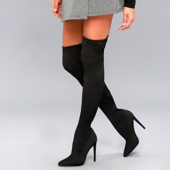 steve madden shoes over the knee black fitted boots 95 poshmark